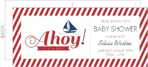 Red And White Ahoy It S A Boy Baby Shower Invite