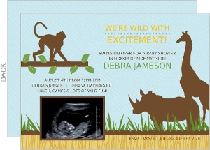 Blue Jungle Animals Safari Sonogram Baby Shower Invitation