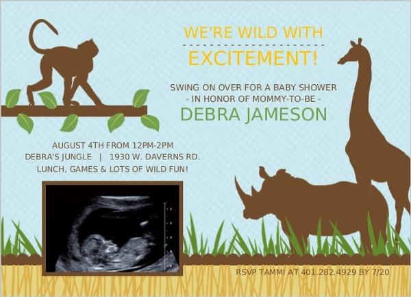 Blue Jungle Animals Safari Sonogram Baby Shower Invitation Boy