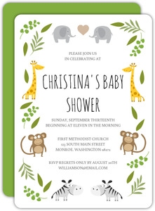 Green Jungle Safari Animals Baby Shower Invitation