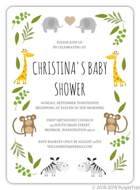 Green Jungle Safari Animals Baby Shower Invitation Boy Baby Shower