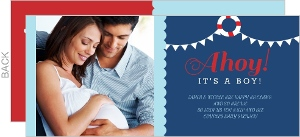 Ahoy Red And Blue Nautical Couples Baby Shower Invitation