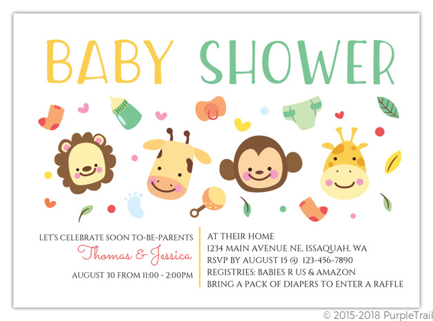 Cute Jungle Safari Printable Baby Shower Invitation Baby Shower