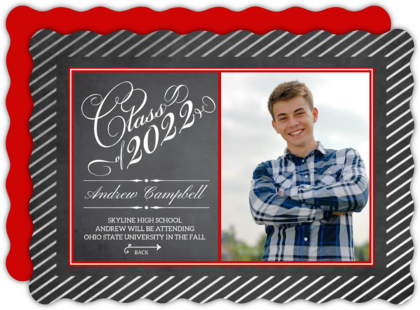 Green Framed Chalkboard Graduation Invitation
