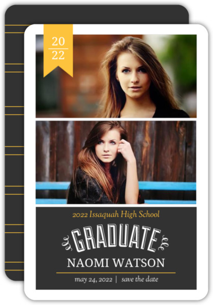 Yellow & Purple Banner Graduation Announcement