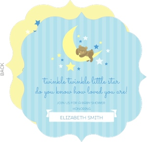 Twinkling Little Stars and Moon Baby Shower Invitation