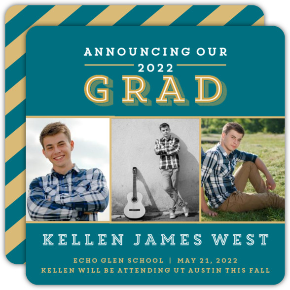 Green and Gold Photo Graduation Announcement