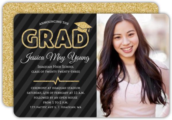 Purple & Faux Gold Glitter Graduation Photo Invitation