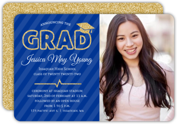 Purple & Faux Gold Glitter Graduation Photo Invitation