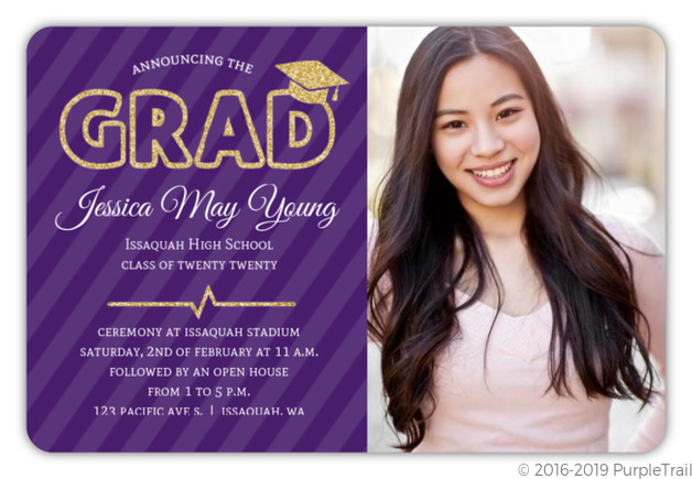 Purple Faux Gold Glitter Graduation Photo Invitation