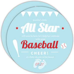 Blue Banner Baseball Baby Shower Invitation