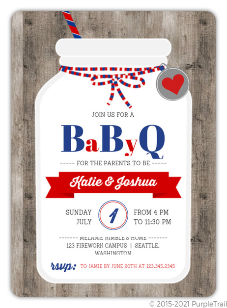 Country Mason Jar Baby Shower Invitation Couples Baby Shower