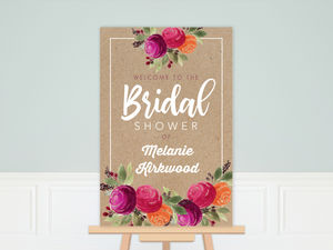 Rustic Kraft Watercolor Floral Bridal Shower Poster
