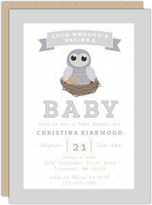 Grey Owl On Nest Owl Baby Shower Invitation