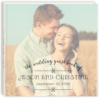 Simple Typography Sewn Wedding Guest Book