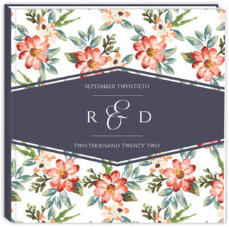 Delicate Watercolor Floral Sewn Wedding Guest Book