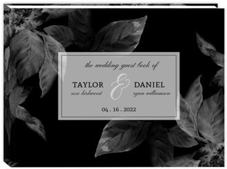 Modern Dark Foliage Sewn Wedding Guest Book