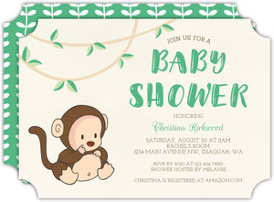 Monkey Costume Baby Shower Invitation