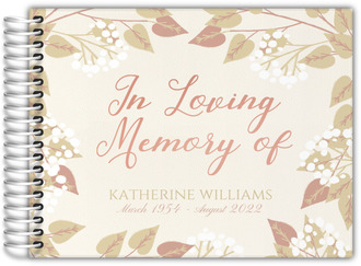 Elegant Soft Foliage Funeral Guest Book