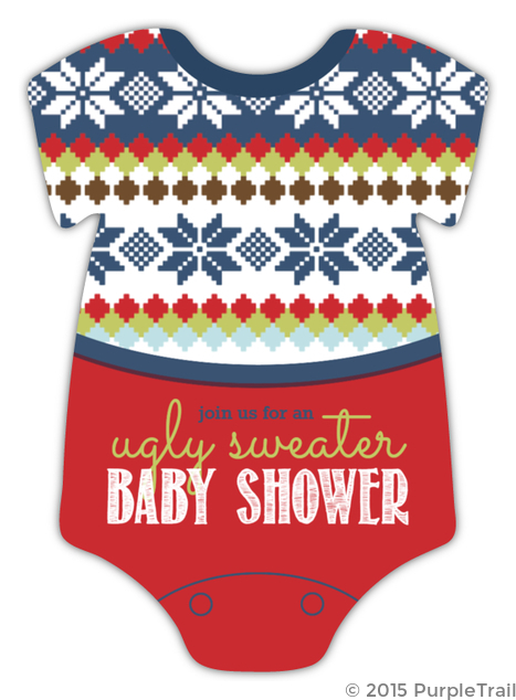 e4479522066f Ugly Onesie Sweater Baby Shower Invitation