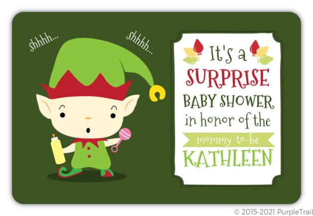 Elf Surprise Baby Shower Invitation