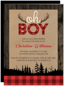 Rustic Plaid And Wood Christmas Baby Shower Invitation