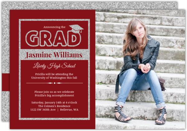 Classic Blue Silver Faux Glitter Graduation Invitation