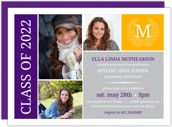 Green & Gray Monogram Seal Graduation Photo Invitation