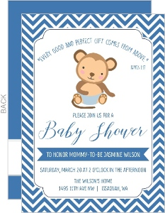 Chevron Diaper Monkey Baby Shower Invitation