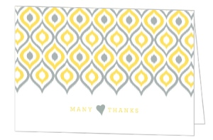 Yellow Gray Ikat Pattern Wedding Thank You Card