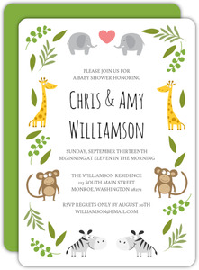 Jungle Animals Couples Baby Shower Invitation