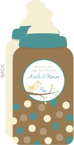Brown And Blue Mommy And Baby Bird Baby Shower Invites