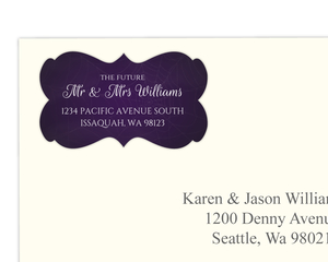 Purple Web Halloween Wedding Address Label