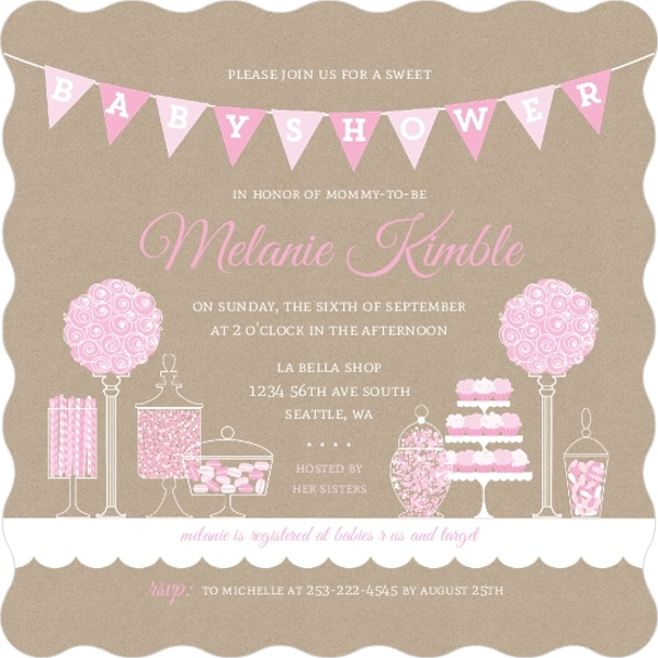 Pink themed candy baby shower invitation girl baby shower invitations pink themed candy baby shower invitation filmwisefo