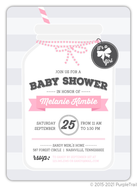 Cute Pink Mason Jar Baby Shower Invitation Girl Baby Shower