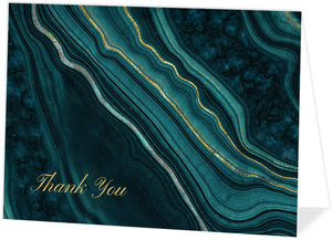 Turquoise & Faux Foil Geode Thank You Card