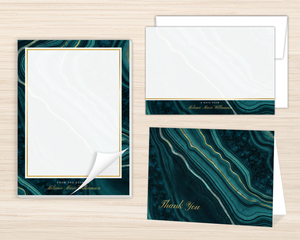 Turquoise & Faux Foil Geode Personalized Stationery Set