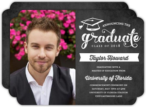 Charcoal Banner Graduation Announcement