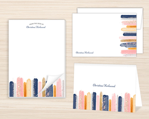 Faux Glitter Watercolor Stationery Set