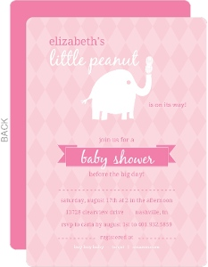 Safari baby shower invitations pink and white little elephant with peanut girl baby shower invitations filmwisefo Image collections