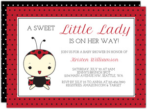 Daisies and Ladybugs Girls Baby Shower Invitation