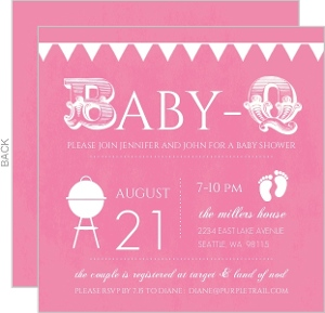 Babyq Pink And White Baby Shower Invitation