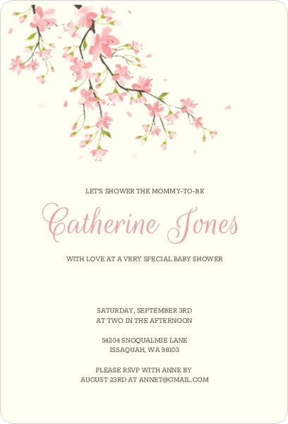 Sweet pink cherry blossoms girl baby shower invitation girl baby sweet pink cherry blossoms girl baby shower invitation filmwisefo