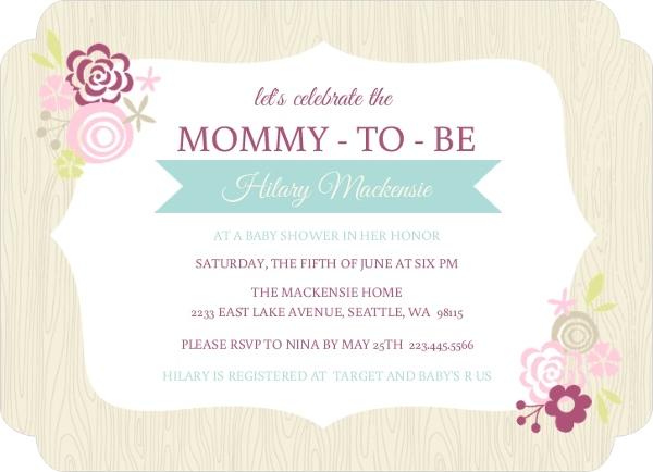 Pink Floral Frame Girls Baby Shower Invite | Girl Baby Shower ...