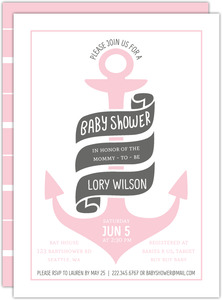 Colored Anchor Nautical Baby Shower Invitation