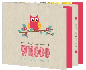 Wood Grain Flower Pink Owl Baby Shower Invitation
