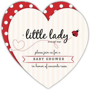 Sweet Lady Bug Girls Baby Shower Invitation