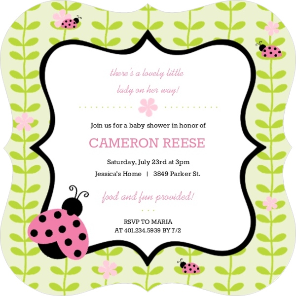 Pink and green flower vines ladybug baby shower invitation girl pink and green flower vines ladybug baby shower invitation filmwisefo