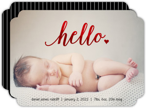 Red Foil Hello Photo Birth Announcement