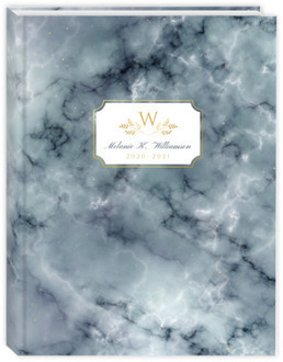 Elegant Fog Marble & Faux Gold Academic Planner 6x8